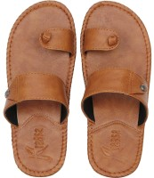 Kraasa Men's Stylish Slippers Sandal Ethnic/ Party/casual / Desi Flip flop Office, collage, Chappal ,Synthetic Leather Slippers(TAN) Flip Flops