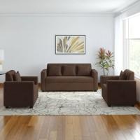 Bharat Lifestyle Lexus Fabric 3 + 1 + 1 Dark Brown Sofa Set