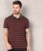Metronaut Striped Men Polo Neck Red, Grey T-Shirt