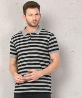 Metronaut Striped Men Polo Neck Black, Grey T-Shirt