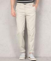 Metronaut Regular Fit Men Polycotton Cream Trousers