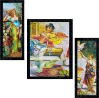 Janki Online Set of 3 Modern Art Glass Framed Wall Painting For Home Office and Temple and Home Décor Digital Reprint 14 inch x 11 inch Painting