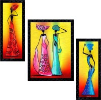 Janki Online Set of 3 African Modern Art Glass Framed Wall Painting For Home Office and Temple and Home Décor Digital Reprint 14 inch x 11 inch Painting