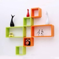 ArtfulCrafts ArtfulCrafts black and white design wall shelf Wooden Wall Shelf (Number of Shelves - 6 Green Orange) Wooden Wall Shelf(Number of Shelves - 6, Green, Orange)