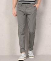 Metronaut Regular Fit Men Polycotton Grey Trousers