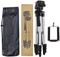 SYL PLUS Portable Adjustable Aluminium Lightweight Camera Stand Tripod-3110 With Three-Dimensional Head & Quick Release Plate For Video Cameras and mobile clip holder for Mobiles & Smartphones Tripod Tripod Kit(Black, Supports Up to 3200 g)