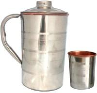 Tarun Traders Copper Steel Diamond Lemon 1.2 L 2 Piece Jug Glass Set(Copper)