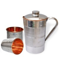 Asia Craft Steel Copper Jug Glass Set(Stainless Steel)