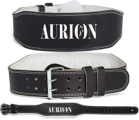Aurion Genuine Leather Weight Lifting Belt Gym Back Support Power Lifting Belt Back Support(Black)