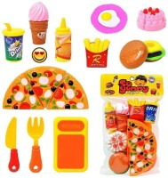 BabyBliss Realistic Sliceable Fast Food Lunch Play Pizza Set Toy for Kids| Restaurant Role Pretend Play (Orange)