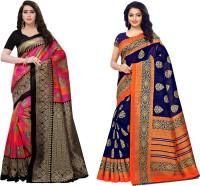 Saara Printed Mysore Art Silk Saree(Pack of 2, Dark Blue, Pink, Orange)