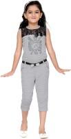 Aarika Self Design Girls Jumpsuit