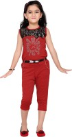 Aarika Self Design Girls Jumpsuit