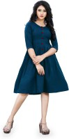 E 4 ETHNICWEAR Women A-line Blue Dress