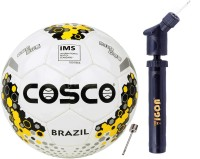 COSCO Brazil Football (Color & Design on Availability) With Tigon Dual Action Ball Pump Football - Size: 5(Pack of 2, Multicolor)