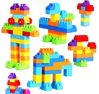 FunBlast Building Blocks for Kids with Wheel, Bag Packing, Best Gift Toy, Multicolor (Set of 50 Pcs)(Multicolor)