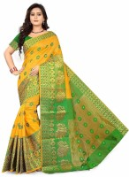 S.B Creation Self Design Banarasi Cotton Saree(Yellow)