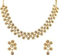 Divastri Copper, Brass, Stone Jewel Set(Gold)