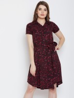 Crease & Clips Women A-line Purple Dress