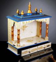 Marusthalee Handpianted Temple for home Solid Wood Home Temple