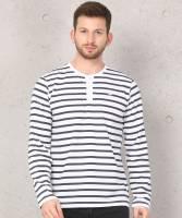 Metronaut Striped Men Henley White, Grey T-Shirt