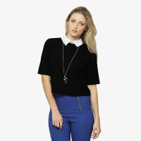 Miss Chase Casual Half Sleeve Solid Women Black Top
