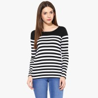 Miss Chase Casual Full Sleeve Striped Women Black, White Top