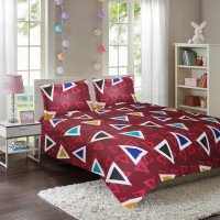Miss & Chief 144 TC Cotton Double Geometric Bedsheet(Pack of 1, Red)
