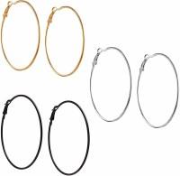 Vings-feel it Fashion Party Casual Silver/Gold/Black Plated Alloy Hoop Ear Bali Ring Earrings for Women & Girls (Pack of 3) Alloy Hoop Earring