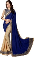 DOLVIA Embroidered Bollywood Chiffon Saree(Blue)