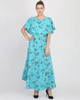 Kannan Women Fit and Flare Light Blue Dress