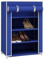 Caxon Portable Non-Woven Cloth Foldable Cabinet Metal Collapsible Shoe Stand(Blue, 4 Shelves)