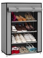 Caxon Portable Non-Woven Cloth Foldable Cabinet Metal Collapsible Shoe Stand(Grey, 4 Shelves)