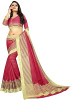 Offirra International Woven Daily Wear Cotton Silk, Chiffon, Net, Crepe Saree(Pink, Gold)