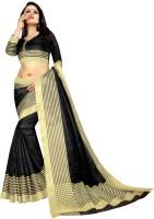 Offirra International Woven Daily Wear Cotton Silk, Chiffon, Net, Crepe Saree(Black, Gold)