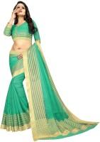 Offirra International Woven Daily Wear Cotton Silk, Chiffon, Net, Crepe Saree(Green, Gold)