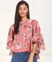 Tokyo Talkies Casual 3/4 Sleeve Printed Women Pink Top
