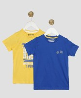 Miss & Chief Boys Printed Cotton Blend T Shirt(Yellow, Pack of 2)