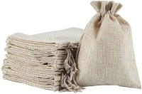 Lifekrafts Jute Pouch Gift Bags for Return Gifts Bags, Pack of 10, Size 24 x 24 Cm (9x9 inches),Burlap, Natural Jute Color, Potli(Brown, Pack of: 10)