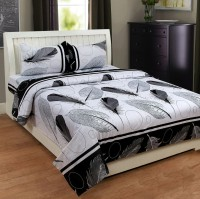 RIDHI FURNISHINGS 144 TC Cotton Double King Printed Bedsheet(Pack of 1, Black)