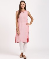 Aurelia Women Self Design Straight Kurta(Red, Pink)