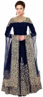 DHARMEE Poly Silk Embroidered Salwar Suit Dupatta Material(Semi Stitched)