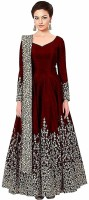 DHARMEE Poly Silk Solid Semi-stitched Salwar Suit Dupatta Material(Semi Stitched)