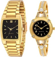 KNACK KNK-GL11 Latest attractive Square black dail and Golden Round diamond studded watch for Men and Women Analog Watch  - For Boys & Girls