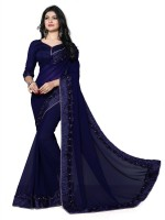 Ashiya Fab Embroidered Fashion Georgette Saree(Blue)