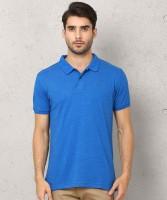 Metronaut Solid Men Polo Neck Blue T-Shirt