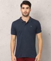 Metronaut Solid Men Polo Neck Dark Blue T-Shirt