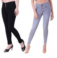 Ansh Fashion Wear Regular Women Black, Grey Jeans(Pack of 2)
