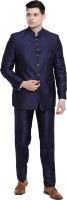 Suitsmith Premium Jodhpuri Bandgala Suit, Regular Fit Formal/Partywear/Festival wear Bandgala Suit for Men, Navy Blue Jodhpuri Bandgala Suit Solid Men Suit