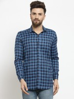 A-Okay Men Checkered Casual Blue Shirt